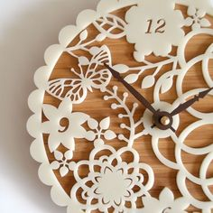 Decorative Wall Clock  Floral Kirie 01 di decoylab su Etsy, $84.00