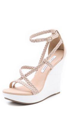 Diane von Furstenberg Olive Braided Wedge Sandals