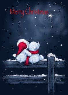 Merry Christmas Pictures, Christmas Scenes, Noel Christmas, Christmas Animals, Vintage Christmas Cards, Christmas Greetings, Winter Wonderland Wallpaper, Image 3d, Christmas Illustration