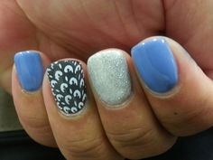 """Red Carpet Manicure """"Love Those Baby Blues""""with RCM """"Always Slate Never Early"""" and IBD Just Gel """"Silver Lites"""" on Gelish """"Arctic Freeze."""""""