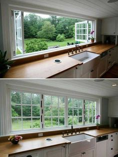Decorate the wall with a giant window: 24 Must See Decor Ideas to Make Your Kitchen Wall Looks Amazing