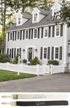 Exterior color - New England Farmhouse Neutral Paint Color Scheme Colonial House Exteriors, Colonial Exterior, Grey Exterior, Exterior Design, Farmhouse Exterior Colors, Modern Colonial, Traditional Exterior, Exterior Color Schemes, Exterior Paint Colors For House