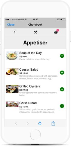 Food Ordering Bot for Restaurants, Bars and Grocery Stores Grilled Oysters, Facebook Messenger, Order Food, Caesar Salad, Garlic Bread, A 17, Ui Design, Restaurants, Templates