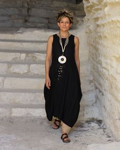 BLACK DRESS TUNIC with sarouel ( harem pants)