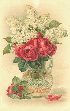white lilacs and red roses in a beautiful cut glass pitcher... love this graphic!