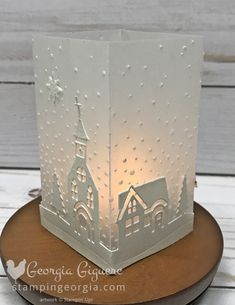 DIY Luminary made with cardstock vellum and Hometown Greetings Edgelits. - DIY Luminary made with cardstock vellum and Hometown Greetings Edgelits. Great as a quick and easy - Christmas Paper Crafts, Stampin Up Christmas, Christmas Projects, Handmade Christmas, Holiday Crafts, Christmas Crafts, Christmas Decorations, Christmas Christmas, Printable Christmas Cards