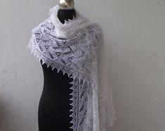 hand knitted shawls and scarves for all seasons by DagnyKnit Prayer Shawl, Wedding Shawl, Fall Wedding, White Shawl, Bridal Bolero, Ivoire, Knitted Shawls, Hand Knitting, Crochet Top