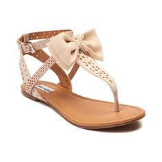 The Jaded Sandal from Not Rated is good to bow! Strap in for bow-tiful style with the Jaded Sandal, flaunting a T-strap design with fashionable perforations and a decorative bow attachment. Features include Synthetic leather upper with perforations Adjustable ankle strap with buckle Decorative satin bow Lightly padded footbed for comfort Textured rubber sole for flexible traction