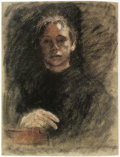 Kathe Kollwitz, Self portrait as a young woman Figure Painting, Figure Drawing, Painting & Drawing, Female Portrait, Portrait Art, Woman Portrait, Paula Modersohn Becker, Kathe Kollwitz, Life Drawing