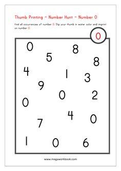 Number 0 - Math Activities for Preschoolers - Number Hunt - Thumb Printing Fun Math Activities, Math Games For Kids, Kindergarten Math Activities, Toddler Learning Activities, Preschool Worksheets, Preschool Activities, Kids Math, Numbers Preschool, Learning Numbers