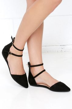 Outer Space Black Suede Ankle Strap Flats