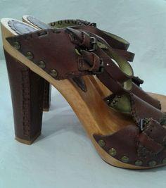 Corso Como Collection 9m Wooden Studded Leather Heels Vintage #CorsoComo #PlatformsWedges #Formal