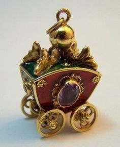 18K Gold Enamel & Jeweled Coach Charm