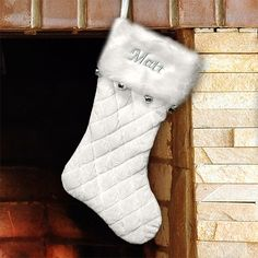 Embroidered Ivory Quilted Stocking with Bells - Such a beautiful snowy look. Love this!  Get this one or other designs at GiftsForYouNow.com