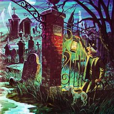 Disney's Haunted Mansion Graveyard - I love old Disney art! Haunted Mansion Disney, Haunted Houses, Old Disney, Vintage Disney, Disney Art, Ariel Disney, Disney Movies, Disney Halloween, Halloween Art