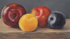 """Daily Paintworks - """"Apricot and Plums"""" by Cheryl Meehan Plum Fruit, Fine Art Gallery, Cheryl, Still Life, Peach, Paintings, Cherries, Kunst, Art Gallery"""