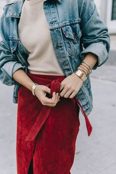 Wrap_Skirt-Red_Skirt-Suede-Levis_Vintage_Denim_Jacket-Isabel_Marant_Shoes-Printed_Pumps-Gold_Bracelets-Celine_Classic_Box-Hoop_Earrings-Topknot-Outfit-Street_Style-Vestiaire_Collective-26