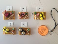 Polymer Clay Charms Sushi on Bamboo