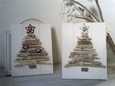 Twigs from the garden to make natural Christmas cards or gift tags. Use card…