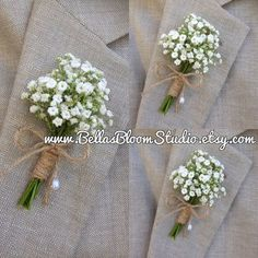 Rustic Boutonniere - Baby's Breath Boutonnieres, mens white boutonniere  Baby's…