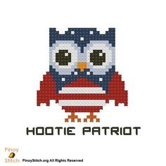 Cross Stitch Embroidery Hootie Patriot - PinoyStitch - Counted Cross Stitch Patterns of artist paintings, mini cross stitch, modern cross stitch. Stitcher Accessories and more. Cross Stitch Owl, Cross Stitch Needles, Modern Cross Stitch, Counted Cross Stitch Patterns, Cross Stitching, Cross Stitch Embroidery, Crochet Square Patterns, Crochet Diagram, Learn Embroidery