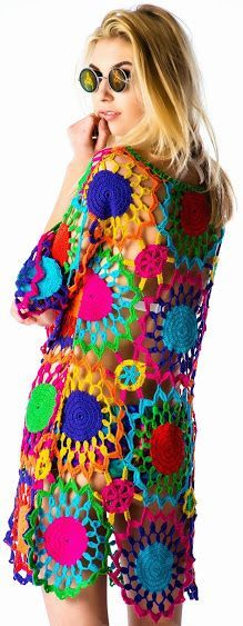 Hippie Crochet dress with colorful flower motif Crochet Hippie, Pull Crochet, Mode Crochet, Crochet Tunic, Crochet Clothes, Knit Crochet, Crochet Baby, Crochet Motifs, Freeform Crochet