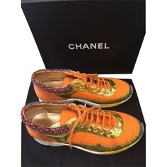 Pre-owned Chanel Orange Gold Runway Trainers Sneakers Tennis Tweed Sz... (£700) ❤ liked on Polyvore featuring shoes, sneakers, none, orange shoes, chanel shoes, tennis sneakers, chanel footwear and gold shoes