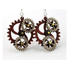 Kinetic Gear Earrings - Hugo (63 BRL) ❤ liked on Polyvore featuring jewelry, earrings, steampunk, hugo jewelry, wooden earrings, wood earrings, wood jewelry and earrings jewelry