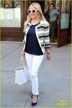 Reese Witherspoon in Draper James jacket with Draper James tote & Manolo Blahnik pumps - New York City, April 2016