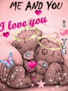 Imagen de una pareja de ositos durmiendo con frase en ingles I LOVE YOU puedes descargarlo gratis en tu celular y compartirlo con la persona que amas en tu vida puedes compartirlo en tu...