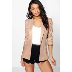 Boohoo Imogen Premium Fitted Blazer featuring polyvore, women's fashion, clothing, outerwear, jackets, blazers, taupe, taupe jacket, wrap jacket, puffer jacket, fitted blazer and bomber style jacket