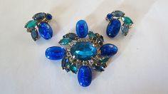 Vtg High End Cobalt Blue Art Glass RS Stylized Maltese Cross Brooch Earrings | eBay