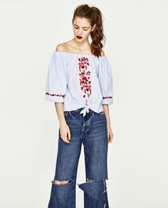 ZARA - WOMAN - EMBROIDERED OFF-THE-SHOULDER TOP