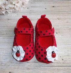 Ladybug Shoes for Ladybug Birthday Outfit  by SweetBabyGirlShoppe