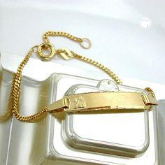 Schildarmband, diamantiert, 9Kt GOLD  Panzerarmband mit Schild für Kinder zusätzliche Öse bei 13cm, Schild 23x5mm matt mit Engel, Rückseite graviert mit -Gott schütze Dich- Ränder diamantiert, für Gravur geeignet