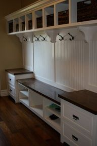Nice wall unit. Plenty of room for coats, books, shoes, anything that would normally just be dropped inside the door.  www.organizedhomeremodeling.com