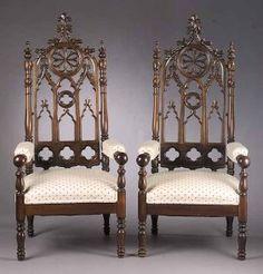 c1850 Gothic arm chair, oak, attr J&JW Meeks, NYC, 59t, 4-11.