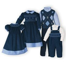 Classic Navy - Brother-Sister Coordinates, Matching Brother Sister Outfits, Matching Family Wear, Family Portait Dresses.