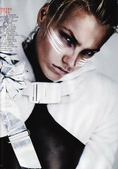 Monochrome Makeup - 'Future Beauty' in Vogue UK Showcases Athletic-Inspired Face Paint