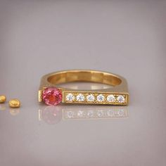 Hey, I found this really awesome Etsy listing at https://www.etsy.com/listing/540013504/14k-gold-signet-ring-set-with-pink