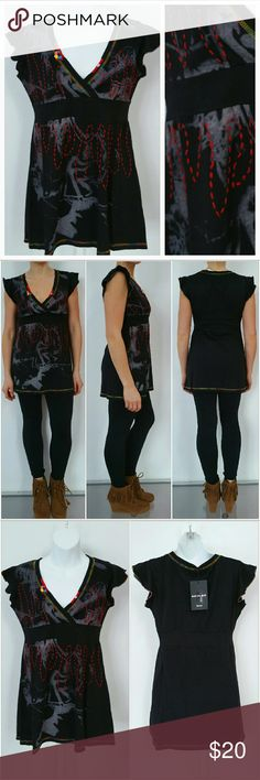 """Black detailed top Brand new with tags  Urban chic t-shirt with threaded details and beads at neckline. Black and gray with multiple color thread.  Size Small 100% cotton  Length approx 27"""" Bust approx 16"""" Tops Tees - Short Sleeve"""