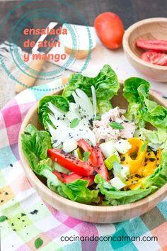 Receta de ensalada de atún y mango.