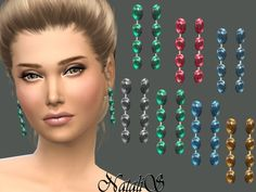 The Sims Resource: Drop earrings with cabochons by NataliS • Sims 4 Downloads