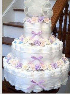 Lavender Diaper Cake With Pastel Roses. Baby Shower Nappy Cake, Diaper Cake Boy, Nappy Cakes, Baby Shower Diapers, Baby Boy Shower, Unique Diaper Cakes, Baby Shower Crafts, Baby Shower Parties, Shower Gifts