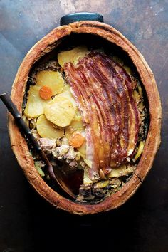 BACHEOFE (ALSATIAN MEAT AND VEGETABLE STEW) This wine-simmered dish of meat and vegetables cooked in a dough-sealed pot is Alsatian through and through.