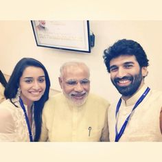 Shraddha Kapoor and Aditya Roy Kapoor With Narendra Modi