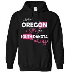 An OREGON-SOUTH DAKOTA girl Pink03 - #white tee #brown sweater. SATISFACTION GUARANTEED => https://www.sunfrog.com/States/An-OREGON-2DSOUTH-DAKOTA-girl-Pink03-Black-Hoodie.html?68278