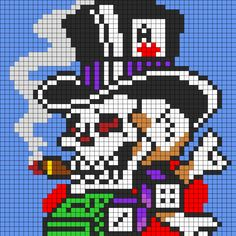 Ed Hardy Skull In Top Hat For Perler bead pattern