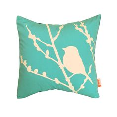 Mint Bird on Cherry Blossom - Mini 10.5 Inches Square Pillow. $16.00, via Etsy.