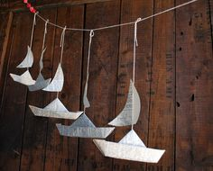 Paper Boat Garland Dictionary pages Party Decor 5 by PaperAltar